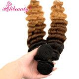 Cabelo malaio de Ombre do Virgin do cabelo humano da cor loura de três tons