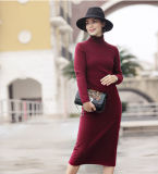 Vestido da caxemira das mulheres com garganta redonda (13brdw073)