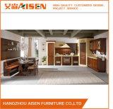 Armário de madeira escuro da cozinha da madeira contínua da cor do estilo de país