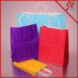 밝은 착색된 광택이 없는 백색 쇼핑 백 색깔 종이 봉지