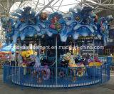Carousel парка атракционов тряся лошади езды весны