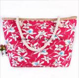 印刷されたキャンバスのショルダー・バッグの方法大きい容量のキャンバスのミイラ袋の綿ロープのハンドバッグ浜袋