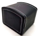 Cadre simple noir de montre-bracelet de cuir de Faux avec le coussin