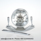 Reloj simple promocional de encargo K8028 del escritorio del metal de la dimensión de una variable redonda