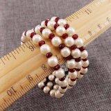 Conjunto elástico de la pulsera del estiramiento del Rhinestone del hilo rojo de la perla