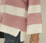 Camisola redonda das senhoras do colar do Knit listrado de alta qualidade