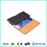 Caixa universal do malote do grampo horizontal da correia de couro para o iPhone 7/7 positivos