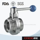 Extrémité à flasque sanitaire d'acier inoxydable vanne papillon de 3 parties (JN-BV3001)