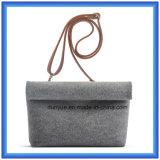 Sacchetto casuale personalizzato del messaggero ritenuto lane di disegno semplice, sacchetto di spalla di acquisto di promozione con la cinghia di cuoio registrabile