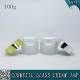 100ml bereiftes kosmetisches Glassahneglas mit Aluminiumkappe