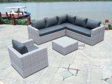 Patio de jardin à moitié autour de la table en verre de meubles de rotin de sofa extérieur en osier de Loungest (J727HR)