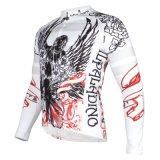 自転車の白いジャージーの涼しい開花の模造された循環のジャケット