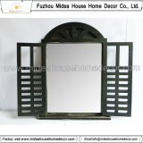 Specchio di legno decorativo Handmade bianco dell'otturatore della finestra dell'annata antica