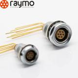 Serie B ECG toma fija con el codo de 90 grados PCB Contactos / 7 Pin circular de metal del conector
