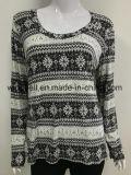 전면 인쇄를 가진 여자를 위한 여가 눈송이 패턴 t-셔츠