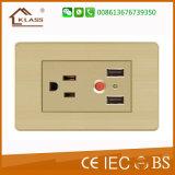 Socket de potencia de 2 cuadrillas para el socket de moda del interruptor de la pared de Tailandia