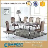 Tabella pranzante superiore di vetro dell'acciaio inossidabile del metallo popolare per mobilia domestica