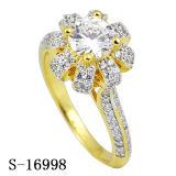 형식 보석 순은 약혼 반지 꽃 디자인 CZ 반지