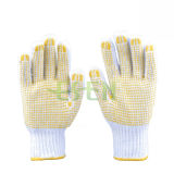 Le PVC a pointillé les gants, les gants de coton pointillés par PVC, les gants fonctionnants pointillés par PVC
