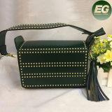 Bolsos tachonados del cuero genuino del bolso del mensajero de la manera del resorte con las borlas Emg4827