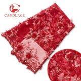 Migliore tessuto africano di vendita di Tulle del merletto del fiore 3D