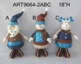 立つChristmaサンタ、スノーマンおよびアメリカヘラジカのクリスマスの装飾3asst