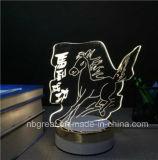 Quente-Vendendo a luz elétrica do quarto 3D da decoração com base dourada do ABS com estilo animal