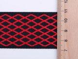 Neuer Entwurfs-schwarzes und rotes Gitter-Nylonjacquardwebstuhl-gewebtes Material