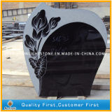 Pure Cheap Tree Carving Tombstone with Black Granite