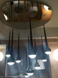 Het moderne LEIDENE van de Daling van het Water van het Metaal van het Ontwerp Decoratieve Zwarte Licht van het Plafond