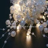 Forma blanca de la perla caliente alimentado por batería 20 LED secuencia de hadas ligera caída