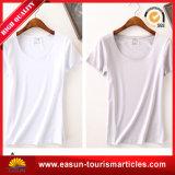 T-shirt en bambou de chemise courte de collet des femmes V avec le prix de Wholesize