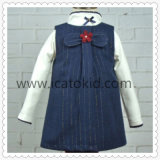 Nette Form-blaues Verdickung-Wolle-Winter-Mädchen-Kleid
