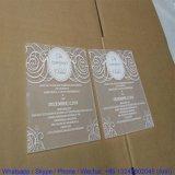 Invitation acrylique claire de mariage