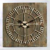 Reloj de madera del regalo del estilo de la dimensión de una variable industrial promocional del cuadrado