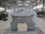 Серый высекая Headstone надгробной плиты гранита американский при выдалбливанный ангел младенца