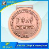 Medaglione di rame antico personalizzato poco costoso del metallo per il ricordo con il nastro (XF-MD23)