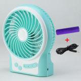 Beweglicher aufladenusb-Miniventilator mit dem Wind mit 3 Stufen beschleunigen-Blau
