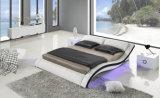 Base moderna do couro genuíno do projeto elegante novo (HC568) para o quarto