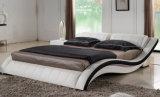 Hauptschlafzimmer-weißes echtes Leder-Bett mit LED-Licht (HC568)