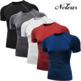 Vestiti di forma fisica della camicia di sport di strato basso di compressione degli uomini di Dt0007 Neleus
