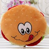 ハンバーガーのプラシ天によって詰められる枕クッション