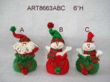 """6 """" H Santa et cadeau de décoration de Noël de bonhomme de neige, 3 Asst"""
