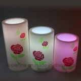 Mehrfarbenplastikrose gedruckte LED Kerze des eleganten Batterie-Energie-flammenlosen Säubern-