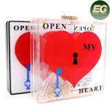 O coração acrílico transparente Shaped quadrado imprimiu os sacos de superfície Eb759 do projeto da curvatura