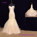Vestido de casamento Backless da sereia do laço do querido