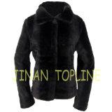 Manteau de fourrure d'article truqué de fourrure de Faux de femmes avec les boutons avant