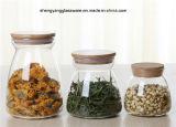 Frasco oval do armazenamento do alimento do vidro de Borosilicate com cortiça