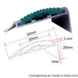 Antislip Gebogen Nosing van de Trede van het Aluminium van het Tapijt Rubber