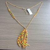 Collana multicolore dei branelli con i monili di modo della nappa del metallo